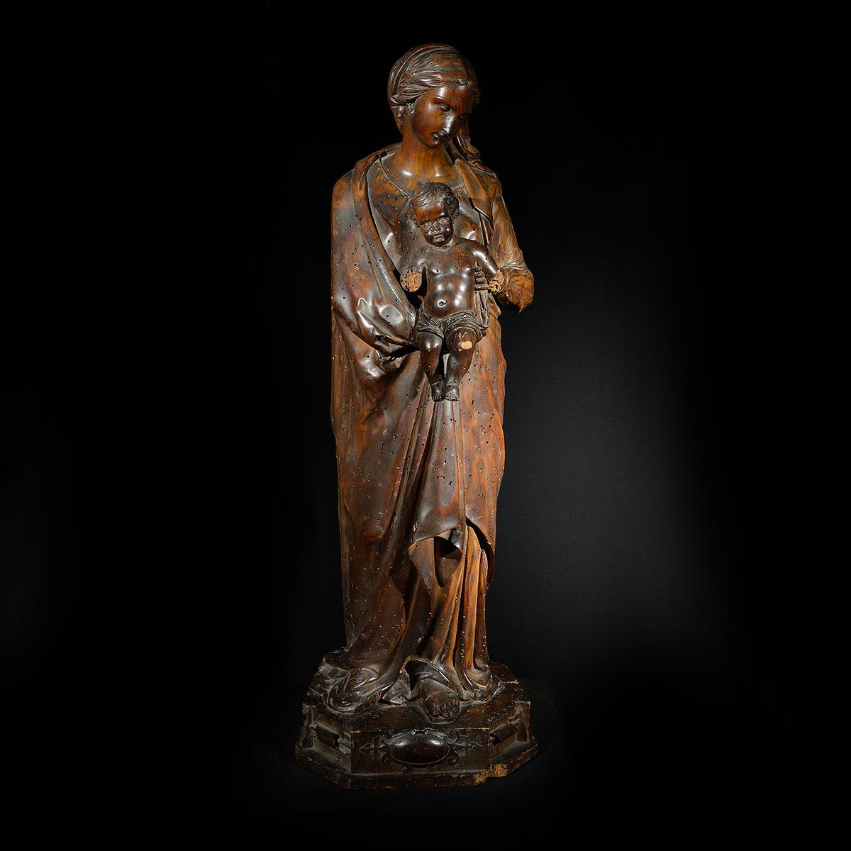madonna lignea scultura fine 1600 Bernardi